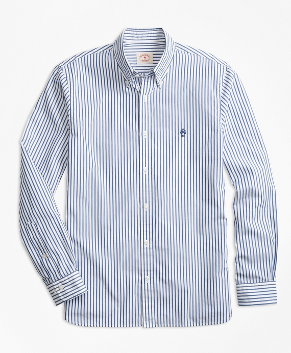 Stripe Broadcloth Sport Shirt Blue