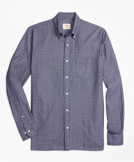 Indigo-Dyed Floral-Print Cotton Twill Sport Shirt