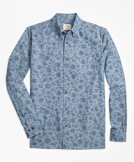 Paisley-Print Cotton Chambray Sport Shirt