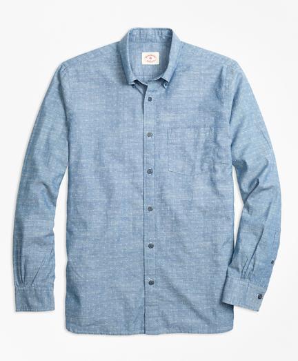 Dot-Print Cotton Chambray Sport Shirt