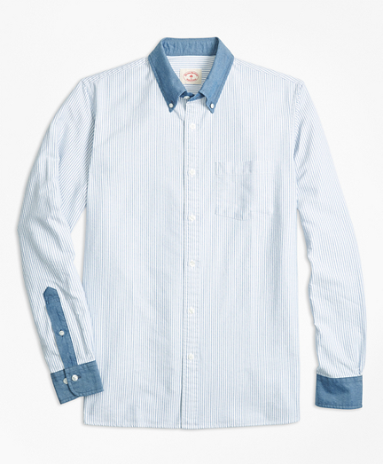 Chambray-Trim Striped Cotton Oxford Sport Shirt