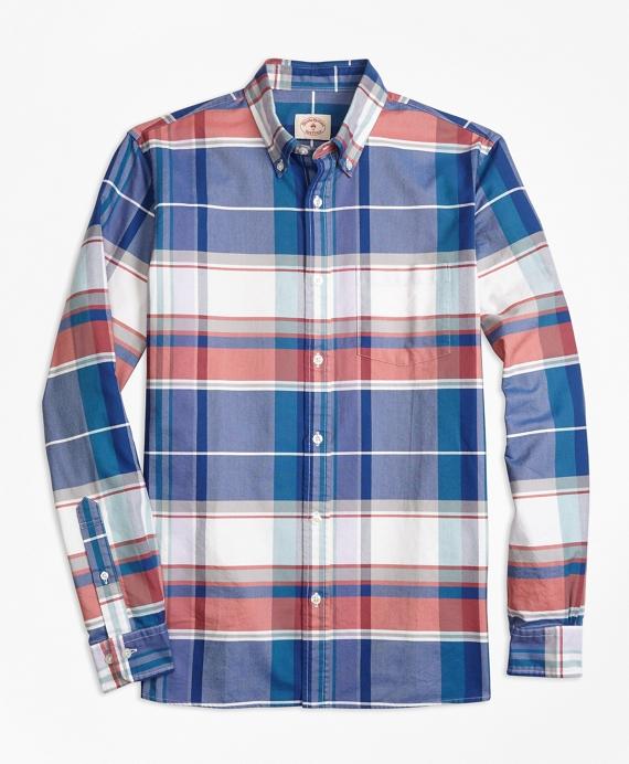 Madras Supima® Cotton Oxford Sport Shirt Blue