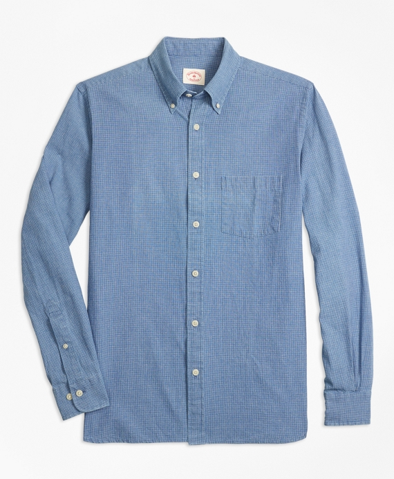 Indigo-Dyed Micro-Check Cotton Twill Sport Shirt Indigo