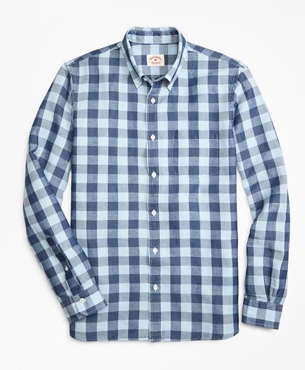 Gingham Linen-Blend Sport Shirt