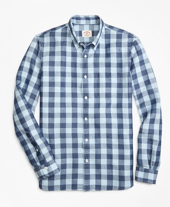 Gingham Linen-Blend Sport Shirt Indigo-Blue
