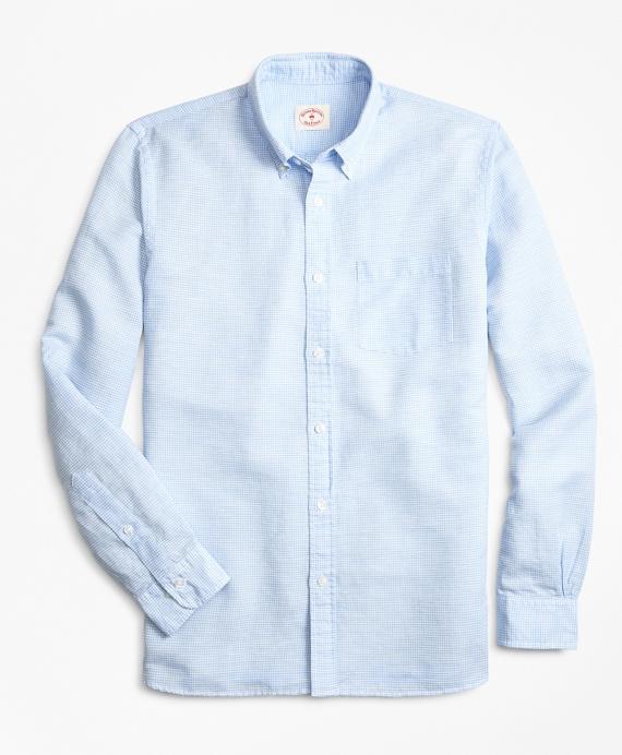 Micro-Gingham Linen-Blend Sport Shirt Blue