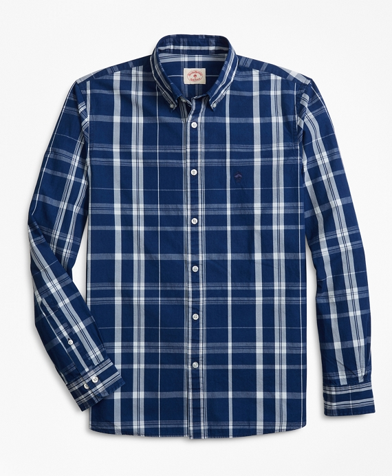 Indigo-Dyed Plaid Cotton Broadcloth Sport Shirt Blue