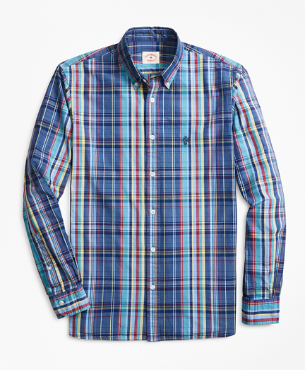 Indigo-Dyed Plaid Cotton Broadcloth Sport Shirt