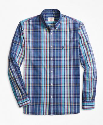 Indigo-Dyed Plaid Cotton Broadcloth Sport Shirt