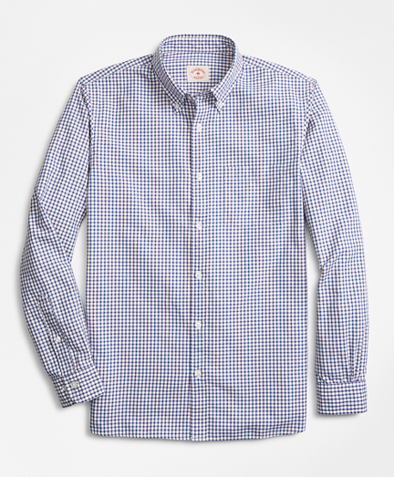 Checkered Cotton Basketweave Sport Shirt