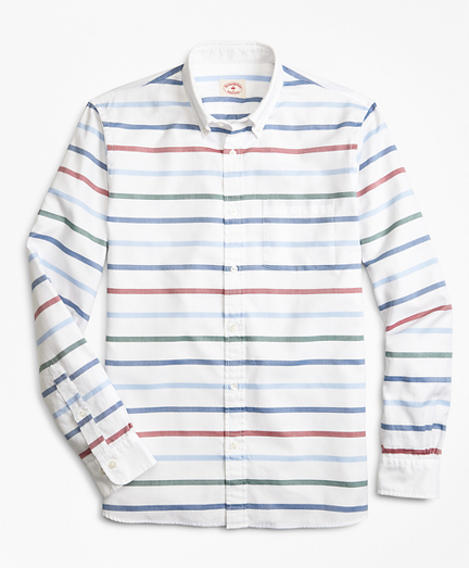 Breton-Striped Basketweave Sport Shirt