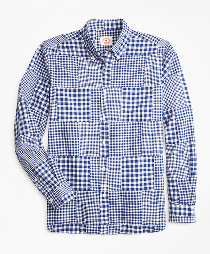 Gingham Patchwork Madras Sport Shirt