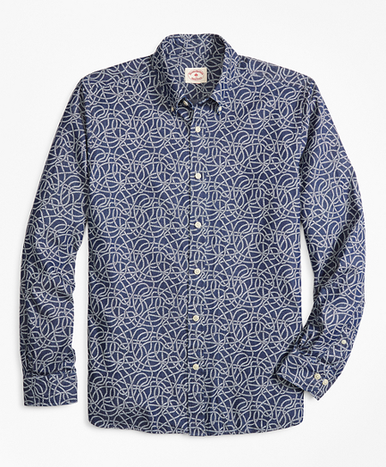 Rope-Print Denim Sport Shirt