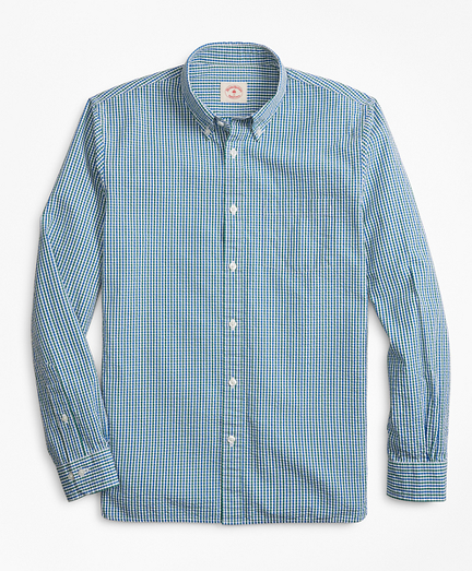 Gingham Seersucker Cotton Sport Shirt