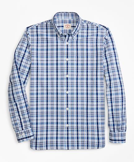 Plaid Seersucker Cotton Sport Shirt