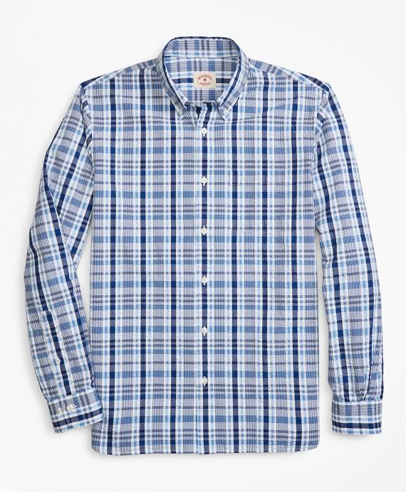 Plaid Seersucker Cotton Sport Shirt Blue