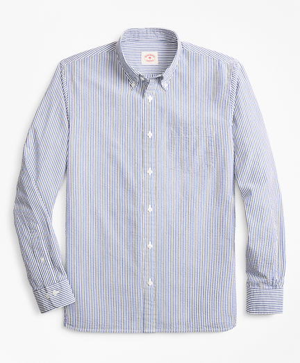 Striped Seersucker Cotton Sport Shirt