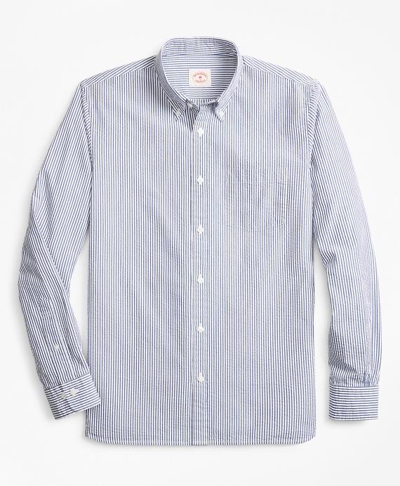 Striped Seersucker Cotton Sport Shirt Blue