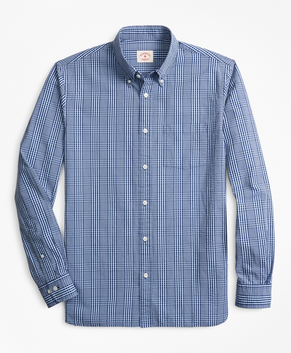 Glen Plaid Seersucker Sport Shirt Blue