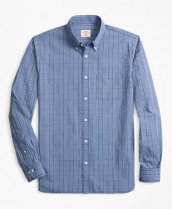 Glen Plaid Seersucker Sport Shirt
