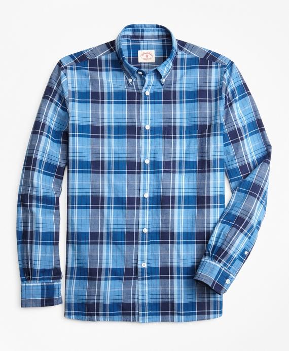 Indigo Plaid Madras Sport Shirt Blue