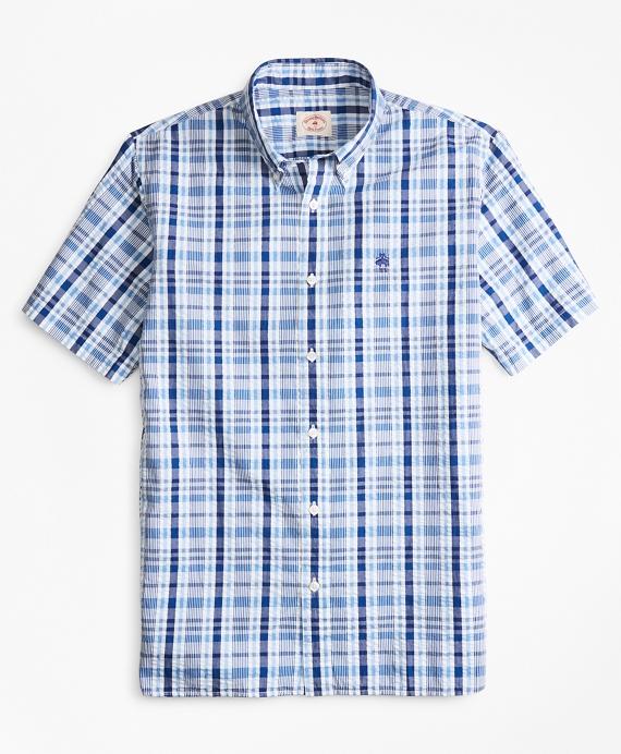 Plaid Seersucker Cotton Short-Sleeve Sport Shirt