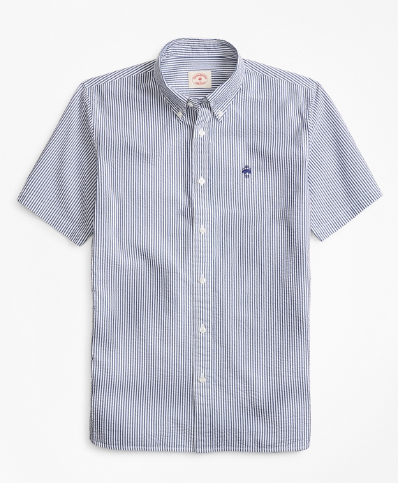 Striped Seersucker Cotton Short Sleeve Sport Shirt by Brooks Brothers