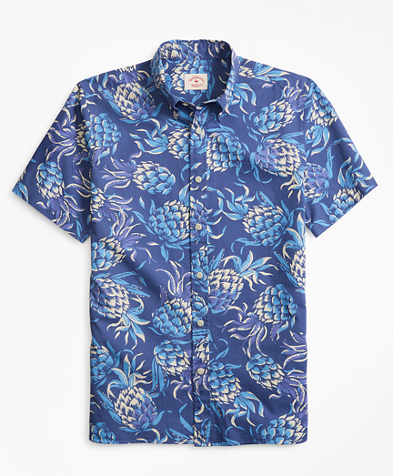 Pineapple-Print Short-Sleeve Sport Shirt