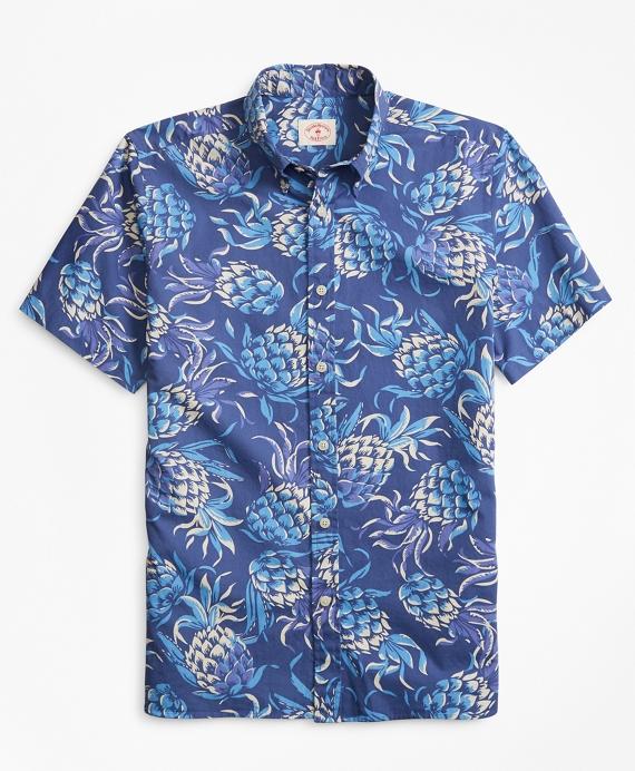 Pineapple-Print Short-Sleeve Sport Shirt Blue