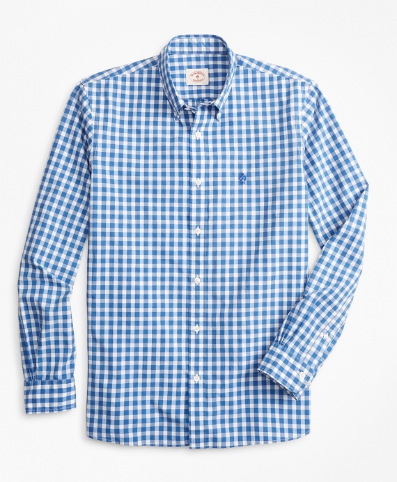 Gingham Broadcloth Sport Shirt Blue