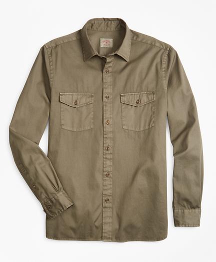 Garment-Dyed Cotton Twill Sport Shirt