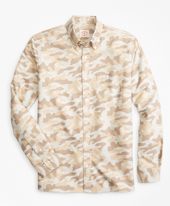 Camo-Print Supima® Cotton Oxford Sport Shirt Tan