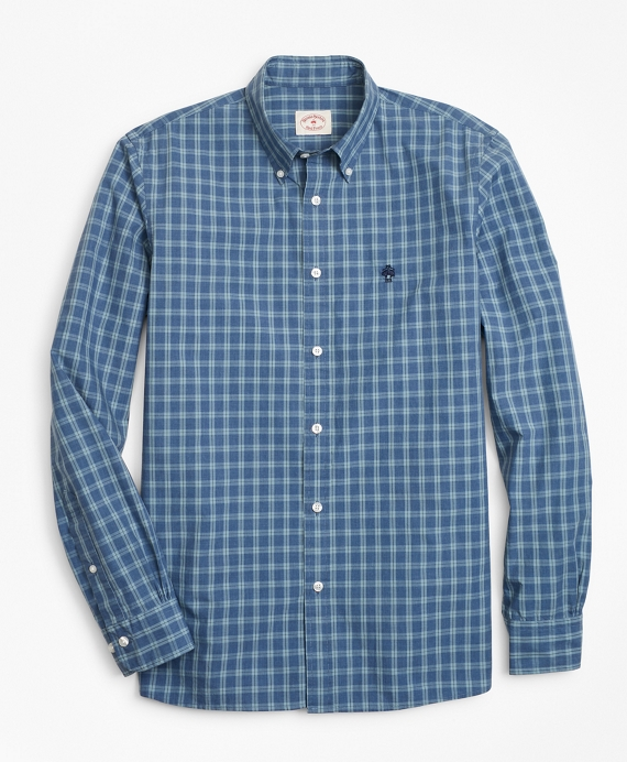 Checked Yarn-Dyed Cotton Poplin Sport Shirt Blue