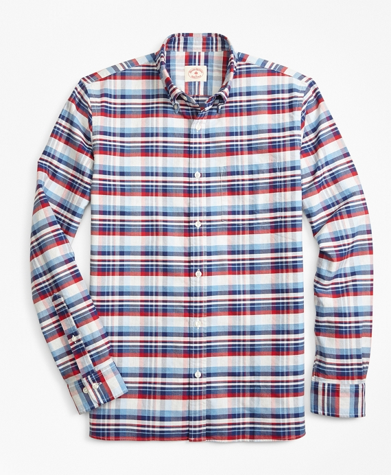 Multi-Plaid Cotton Oxford Sport Shirt Grey
