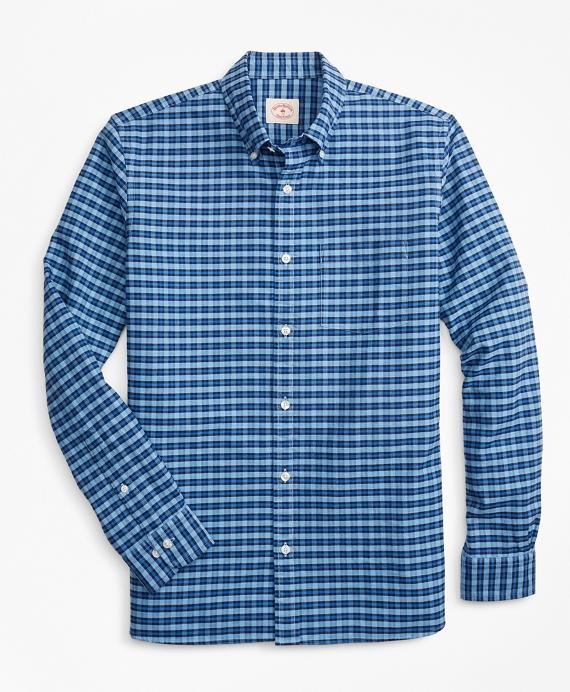 Plaid Cotton Oxford Sport Shirt Blue