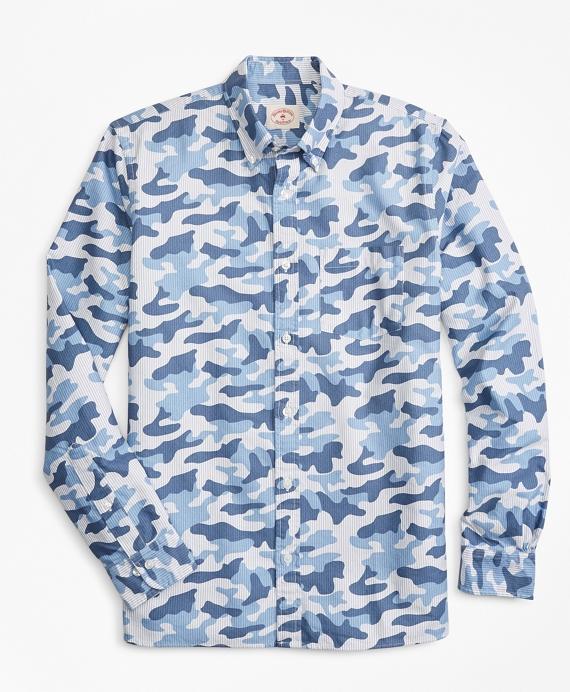 Camo-Stripe Cotton Oxford Sport Shirt Blue