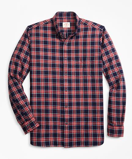 Indigo-Dyed Plaid Cotton Twill Sport Shirt