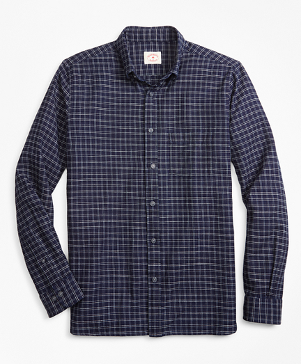 Indigo-Dyed Plaid Cotton Twill Sport Shirt