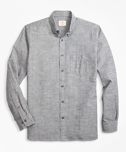 Indigo-Dyed Striped Denim Sport Shirt