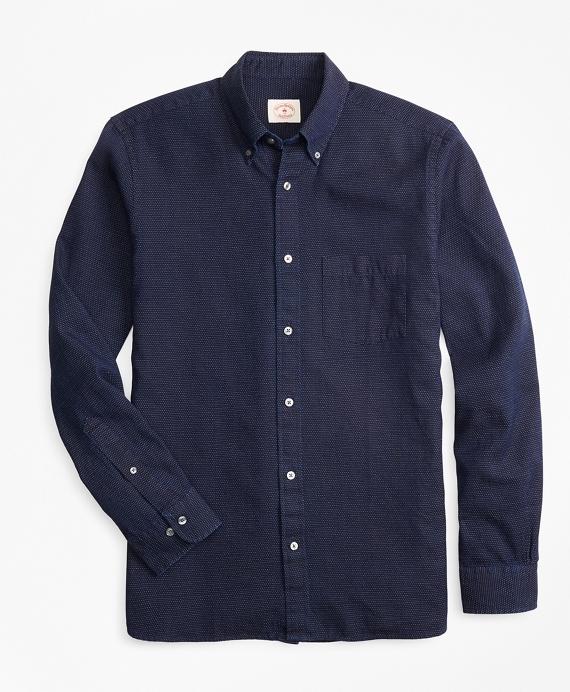 Indigo-Dyed Dotted Dobby Sport Shirt Navy