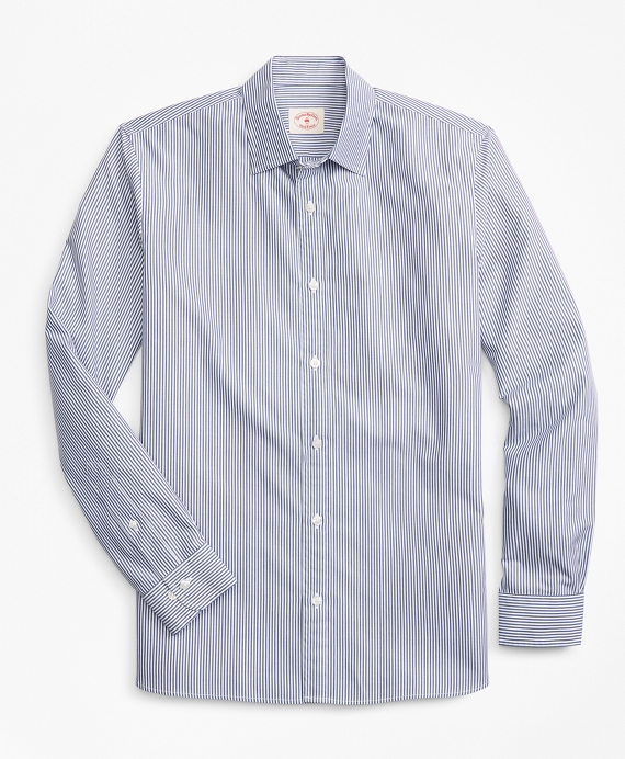 Striped Nine-to-Nine Cotton Poplin Shirt Navy