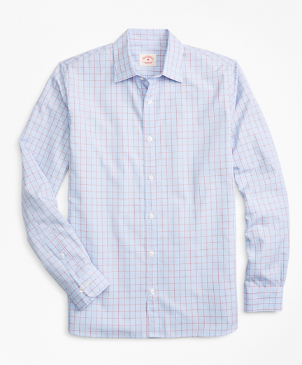 Windowpane Nine-to-Nine Cotton Poplin Shirt