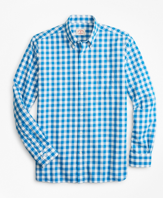 Gingham Brushed Cotton Flannel Sport Shirt Blue