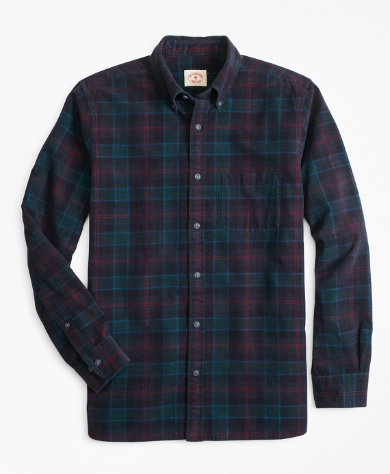 Indigo-Dyed Tartan Cotton Corduroy Sport Shirt Multi