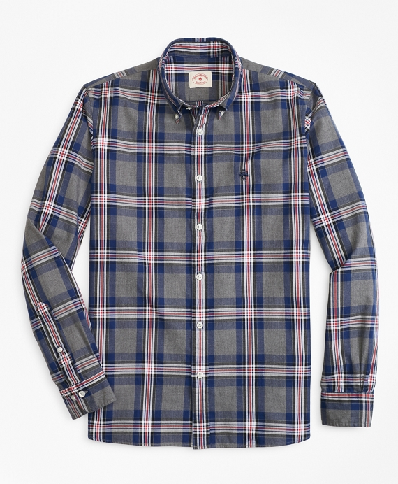 Plaid Basketweave Oxford Sport Shirt Grey-Blue
