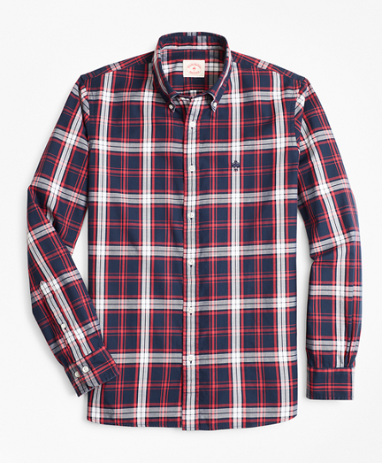Plaid Basketweave Oxford Sport Shirt