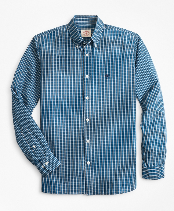 Plaid Cotton Broadcloth Sport Shirt Blue