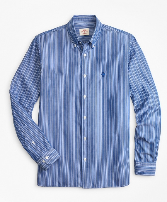 Striped Cotton Broadcloth Sport Shirt Blue