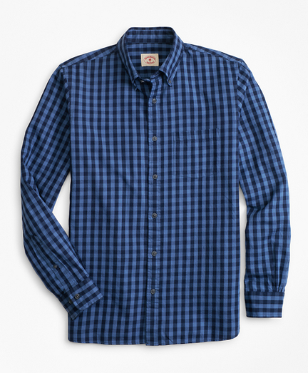 Indigo-Dyed Gingham Twill Sport Shirt