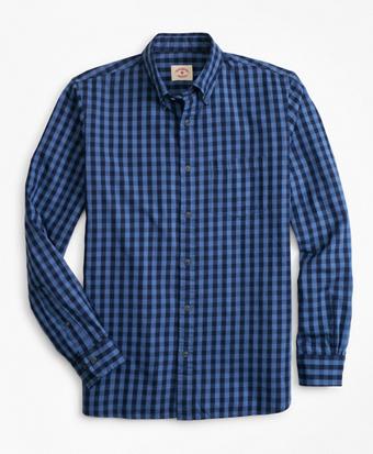 Indigo-Dyed Gingham Twill Sport Shirt